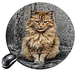 Round Mousepad yellow cat Mouse Pad