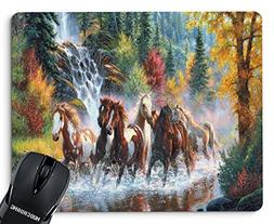 NUOCHUANG New Running Wild Horses Mouse Pads Design Non-Slip