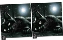 Schoolsupplies Black cat in moonlight Mouse Pad, Mousepad