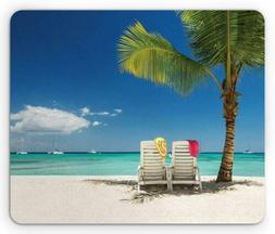 Ambesonne Seaside Mouse Pad, Relaxing Scene on Remote Beach