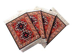 Set of 4 Rug Table Coasters – Persian Design Fabric Carpet