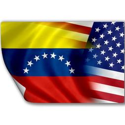 Sticker  with Flag of Venezuela and USA