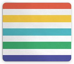 Ambesonne Striped Mouse Pad, Rainbow Colored and White Fun H