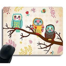 Three Owls on Tree Unique Design Computer Optical Mouse Pad