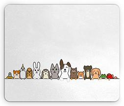Ambesonne Toddler Mouse Pad, Cute Domestic Pets Various Anim