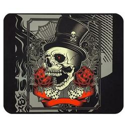 Top Hat Skull and Roses Mouse Pad Mat Computer Desk Accessor