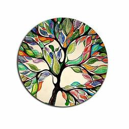 Tree of Life Gorgeous Like Leather Customized Round Mouse Pa