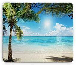 Ambesonne Tropical Beach Mouse Pad, Coconut Palm Trees Shado