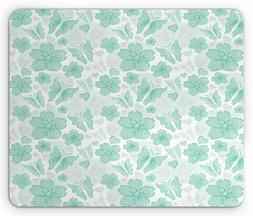Ambesonne Turquoise Mouse Pad, Flowers Butterflies Leaves Pa