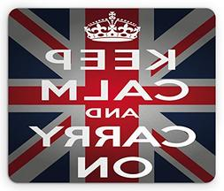 Ambesonne Union Jack Mouse Pad, Keep Calm and Cary On Quote