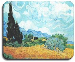 Van Gogh - Yellow Wheat & Cypresses Mouse Pad - By Art Plate