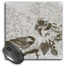3dRose Vintage Birds and Flowers - Nature Art - Mouse Pad, 8