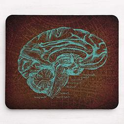 Vintage Teal Brain Diagram Map Style Mousepad 11.8×9.8 inch
