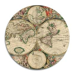 "Vintage World Map Customized Round Mouse Pad 7.8""X7.8"" inch"