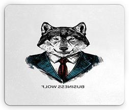 Ambesonne Wolf Mouse Pad, Business Animal in Suit with Jacke