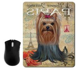 yorkie mouse pad,desk accessories, yorkshire terrier gift, B