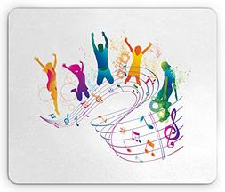 Ambesonne Youth Mouse Pad, Active Dancing Jumping People Vib
